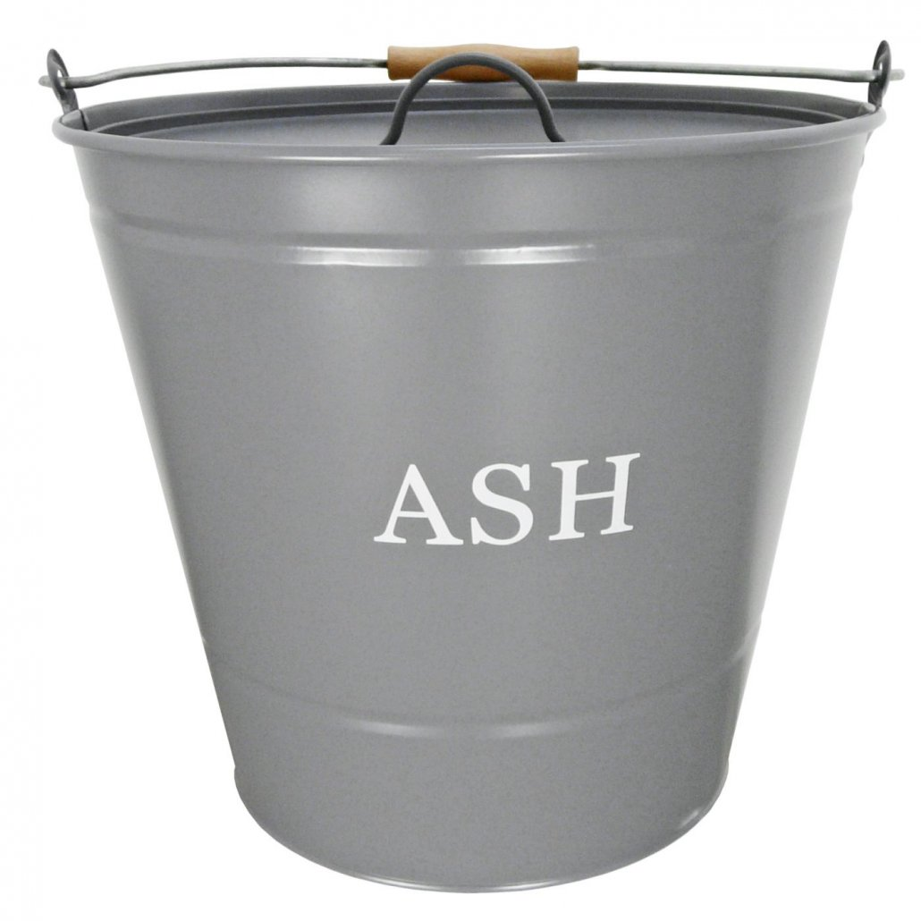 Ash Bucket with Lid - Grey - 32