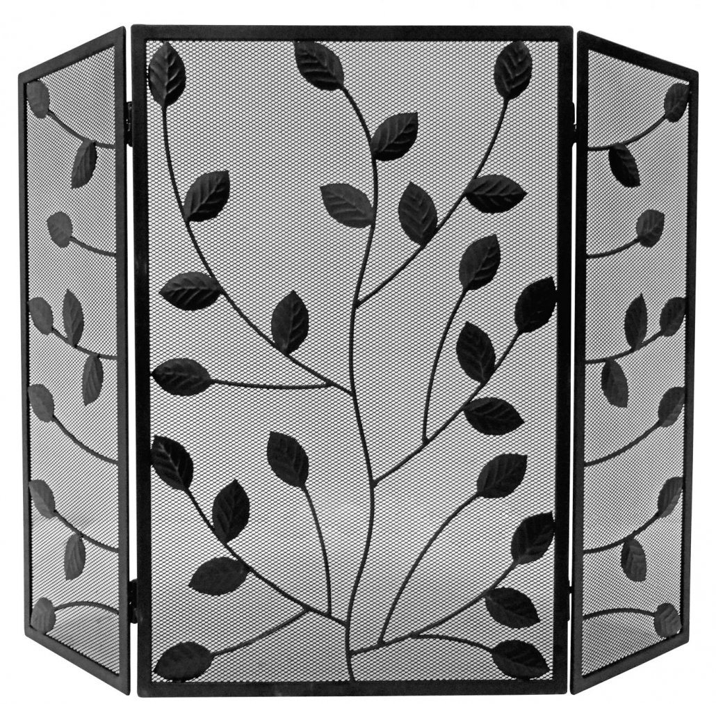 Black 3 Fold With Leaves - 62 x 41 + 20 wings
