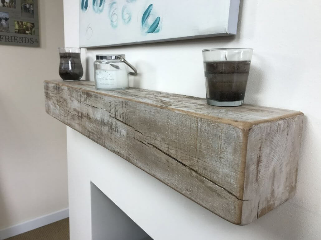 6 X 6 FROSTED OAK BEAM MANTEL